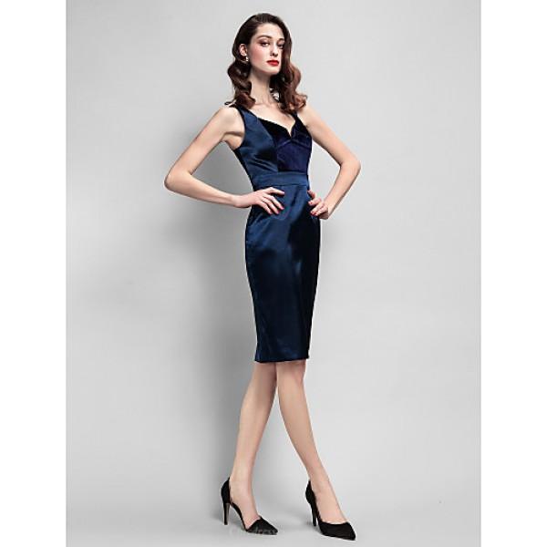Cocktail Party Dress - Dark Navy Plus Sizes / Petite Sheath/Column Straps Knee-length Velvet / Stretch Satin Special Occasion Dresses