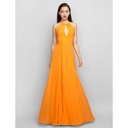 Formal Evening Prom Military Ball Dress Orange Plus Sizes Petite A Line Halter Floor Length Chiffon