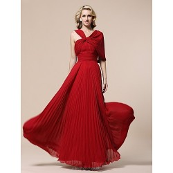Prom Military Ball Formal Evening Dress Ruby Plus Sizes Petite Sheath Column V Neck Floor Length Chiffon