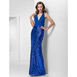 Formal Evening / Prom / Military Ball Dress - Royal Blue Plus Sizes / Petite Trumpet/Mermaid Halter / V-neck Floor-lengthChiffon /