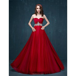 Formal Evening Dress Burgundy A Line Sweetheart Sweep Brush Train Tulle