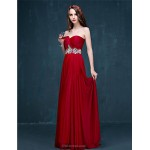 Formal Evening Dress - Burgundy A-line Sweetheart Sweep/Brush Train Tulle Special Occasion Dresses
