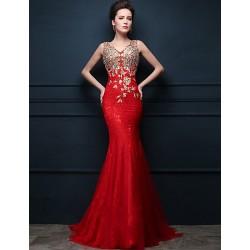 Formal Evening Dress Ruby Trumpet Mermaid V Neck Sweep Brush Train Tulle