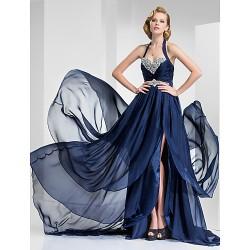 Formal Evening Military Ball Dress Dark Navy Plus Sizes Petite A Line Princess Halter Sweetheart Court Train Satin Chiffon