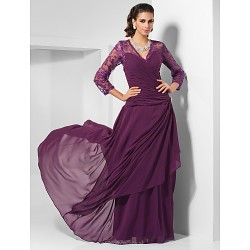 Formal Evening Military Ball Wedding Party Dress Grape Plus Sizes Petite Sheath Column V Neck Floor Length Chiffon