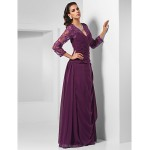 TS Couture Formal Evening / Military Ball / Wedding Party Dress - Grape Plus Sizes / Petite Sheath/Column V-neck Floor-length Chiffon Special Occasion Dresses