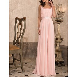 Prom/Military Ball/Formal Evening Dress - Blushing Pink Sheath/Column Scoop Floor-length Chiffon