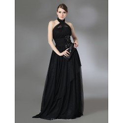 Prom / Military Ball / Formal Evening Dress - Black Plus Sizes / Petite A-line / Princess Halter / High Neck Floor-lengthStretch Satin /