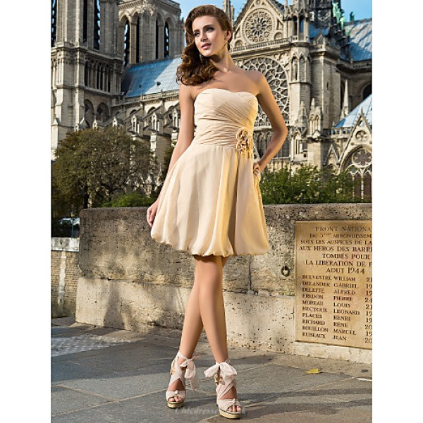 Cocktail Party Dress - Champagne Plus Sizes / Petite A-line / Princess Sweetheart / Strapless Knee-length Chiffon Special Occasion Dresses