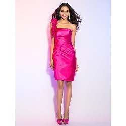 Cocktail Party Holiday Dress Fuchsia Plus Sizes Petite Sheath Column One Shoulder Knee Length Stretch Satin