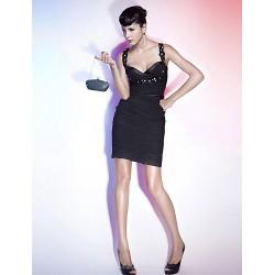Cocktail Party / Holiday Dress - Black Plus Sizes / Petite Sheath/Column Straps / Sweetheart Short/Mini Chiffon / Stretch Satin