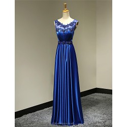 Formal Evening Dress - Royal Blue Plus Sizes / Petite A-line Scoop Floor-length Satin