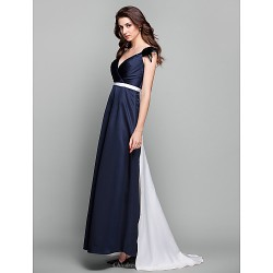 Formal Evening Prom Military Ball Dress Dark Navy Plus Sizes Petite Sheath Column V Neck Sweep Brush Train Satin