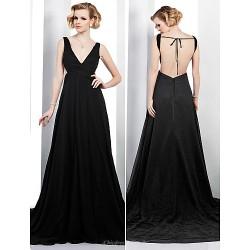 Formal Evening Dress Black Plus Sizes Petite A Line V Neck Court Train Chiffon
