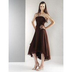 Tea Length Asymmetrical Chiffon Bridesmaid Dress Chocolate Plus Sizes Petite A Line Princess Strapless