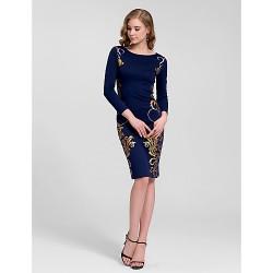 Cocktail Party Dress Dark Navy Plus Sizes Sheath Column Jewel Knee Length Cotton