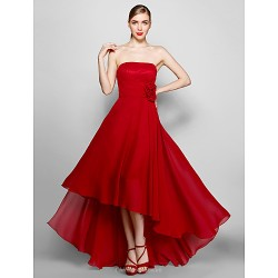 Formal Evening Dress - Burgundy Plus Sizes / Petite A-line Strapless Asymmetrical Chiffon