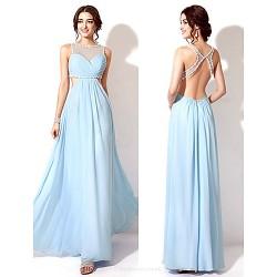 Formal Evening Dress Sky Blue Plus Sizes Petite A Line Jewel Floor Length
