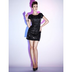 Cocktail Party Holiday Sweet 16 Dress Black Plus Sizes Petite Sheath Column Bateau Short Mini Sequined