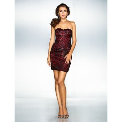 Cocktail Party / Holiday / Prom Dress - Black Plus Sizes / Petite A-line / Princess Sweetheart Short/Mini Stretch Satin / Sequined