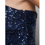Cocktail Party / Homecoming / Prom / Holiday Dress - Dark Navy Plus Sizes / Petite A-line / Princess Notched Short/Mini Sequined / Tulle Special Occasion Dresses