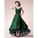A-line Plus Sizes / Petite Mother of the Bride Dress - Dark Green Asymmetrical Short Sleeve Chiffon / Taffeta Mother Of The Bride Dresses