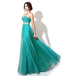 Formal Evening Dress - Dark Navy / Jade / Watermelon Plus Sizes / Petite A-line Sweetheart Floor-length Chiffon