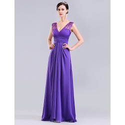 Formal Evening Dress Ruby Lilac Ball Gown V Neck Floor Length Tulle Charmeuse Knit