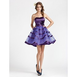 Cocktail Party Homecoming Wedding Party Sweet 16 Dress Regency Plus Sizes Petite A Line Princess Strapless Sweetheart