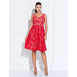 Cocktail Party Holiday Prom Dress Ruby Plus Sizes Petite A Line Princess V Neck Knee Length Lace