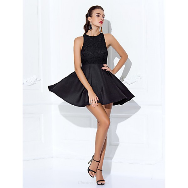 TS Couture Cocktail Party / Prom Dress - Black Plus Sizes / Petite A-line Jewel Short/Mini Lace / Jersey Special Occasion Dresses