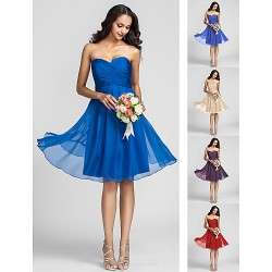 Knee-length Chiffon Bridesmaid Dress - Ruby / Grape / Royal Blue / Champagne Plus Sizes / Petite A-line Sweetheart