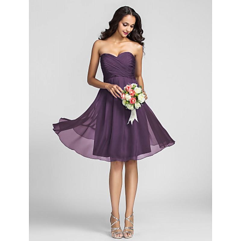 Knee-length Chiffon Bridesmaid Dress - Ruby / Grape / Royal Blue ...