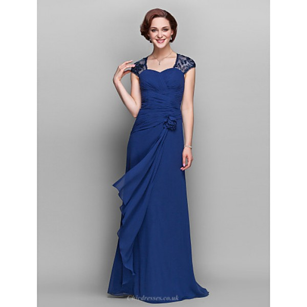 Sheath/Column Plus Sizes / Petite Mother of the Bride Dress - Dark Navy Floor-length Short Sleeve Georgette Mother Of The Bride Dresses
