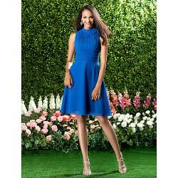 Knee Length Chiffon Bridesmaid Dress Royal Blue Plus Sizes Petite A Line High Neck