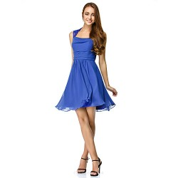 Cocktail Party Dress - Royal Blue A-line Square Short/Mini Chiffon