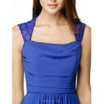 TS Couture Cocktail Party Dress - Royal Blue A-line Square Short/Mini Chiffon Special Occasion Dresses