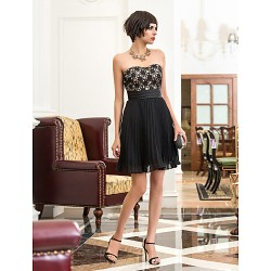 Cocktail Party / Holiday Dress - Black Plus Sizes / Petite A-line Sweetheart Short/Mini Chiffon / Lace