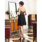 TS Couture Cocktail Party / Holiday Dress - Black Plus Sizes / Petite A-line Sweetheart Short/Mini Chiffon / Lace Special Occasion Dresses
