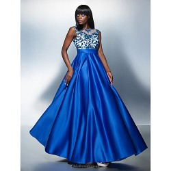 Formal Evening Dress Royal Blue Plus Sizes Petite A Line Jewel Floor Length Tulle Charmeuse