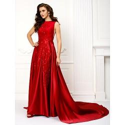 Formal Evening Dress Burgundy A Line Jewel Chapel Train Satin
