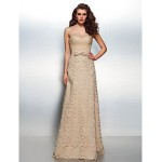 TS Couture Formal Evening Dress - Champagne Plus Sizes / Petite Sheath/Column Sweetheart Floor-length Lace Special Occasion Dresses