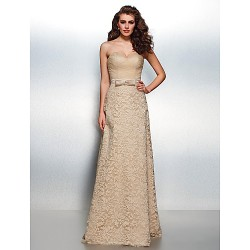 Formal Evening Dress - Champagne Plus Sizes / Petite Sheath/Column Sweetheart Floor-length Lace