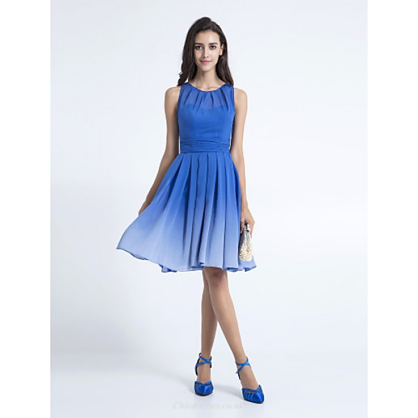 Knee-length Chiffon Bridesmaid Dress - Royal Blue Plus Sizes / Petite A-line Scoop Special Occasion Dresses