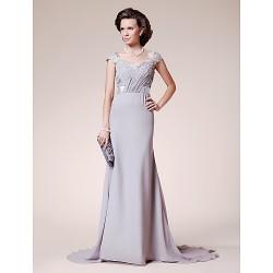 A-line Plus Sizes / Petite Mother of the Bride Dress - Silver Court Train Short Sleeve Lace / Chiffon