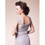 A-line Plus Sizes / Petite Mother of the Bride Dress - Silver Court Train Short Sleeve Lace / Chiffon Mother Of The Bride Dresses