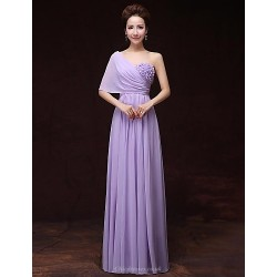 Formal Evening Dress Lavender A Line One Shoulder Floor Length Satin