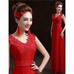 Formal Evening Dress Ruby Plus Sizes Sheath Column V Neck Floor Length Lace