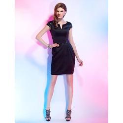 Cocktail Party Dress Black Plus Sizes Petite Sheath Column Notched Short Mini Satin