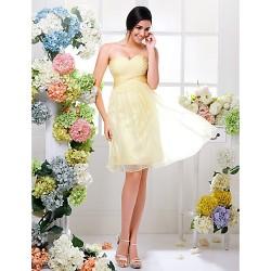 Knee Length Chiffon Bridesmaid Dress Daffodil Plus Sizes Petite A Line Sweetheart